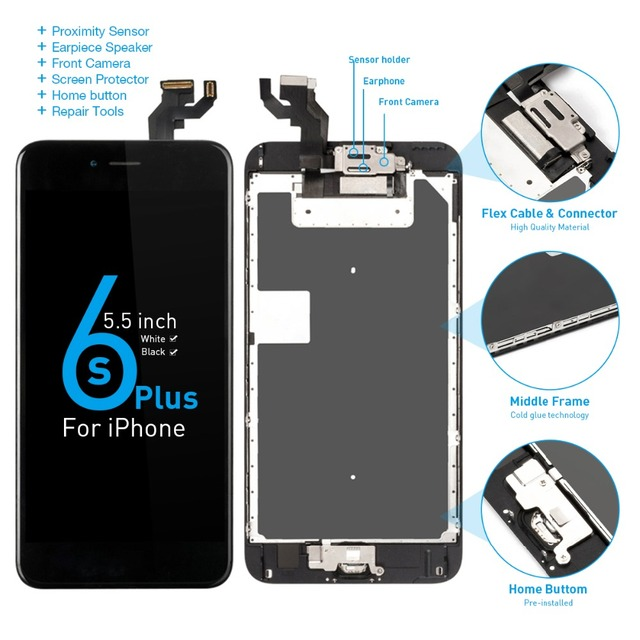 """A1634 A1687 A1699 Full set Display For Apple iPhone 6S Plus LCD Touch Sensor Digitizer Assembly 5.5"""" Screen Home button +Speaker"""