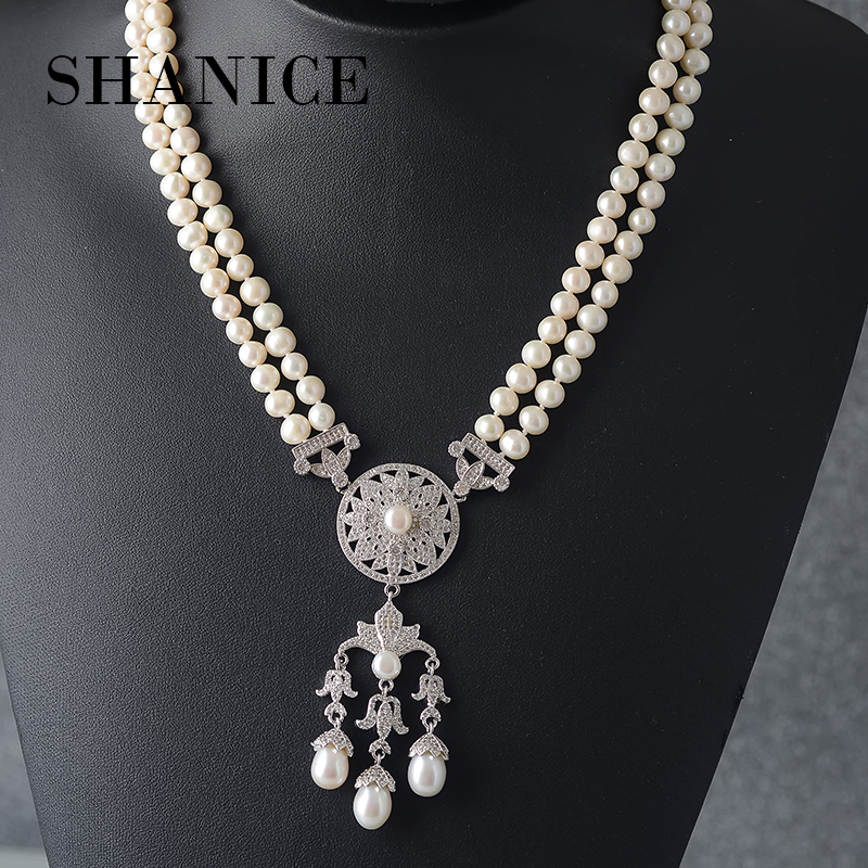 SHANICE Big Freshwater Pearl pearl necklace With CZ Pendant Jewelry long adjustable Chain Statement Necklace For Women exaggerated enamel flower layered chain big imitation pearl necklace perfume women beaded chunky statement necklace