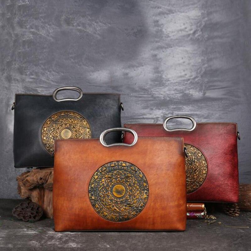 Prawdziwe damskie torebki ze skóry bydlęcej najwyższej jakości kobiety prawdziwej skóry dużego ciężaru duża pojemność ręczne malowanie luksusowa marka torby na ramię w Torby z uchwytem od Bagaże i torby na  Grupa 1