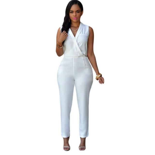 acfd37e75bc Luxe White Jumpsuit Fitted Overall Rompers Sexy Women Stylish Party Club  Fashion Full Length Casual Office Lady V Neck Rompers