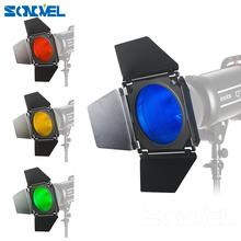 Godox BD-04 drzwi stodoły + siatka o strukturze plastra miodu + 4 filtr kolorów czerwony niebieski zielony żółty dla Bowen zamontować standardowy reflektor akcesoria do lamp błyskowych tanie tanio 0 700