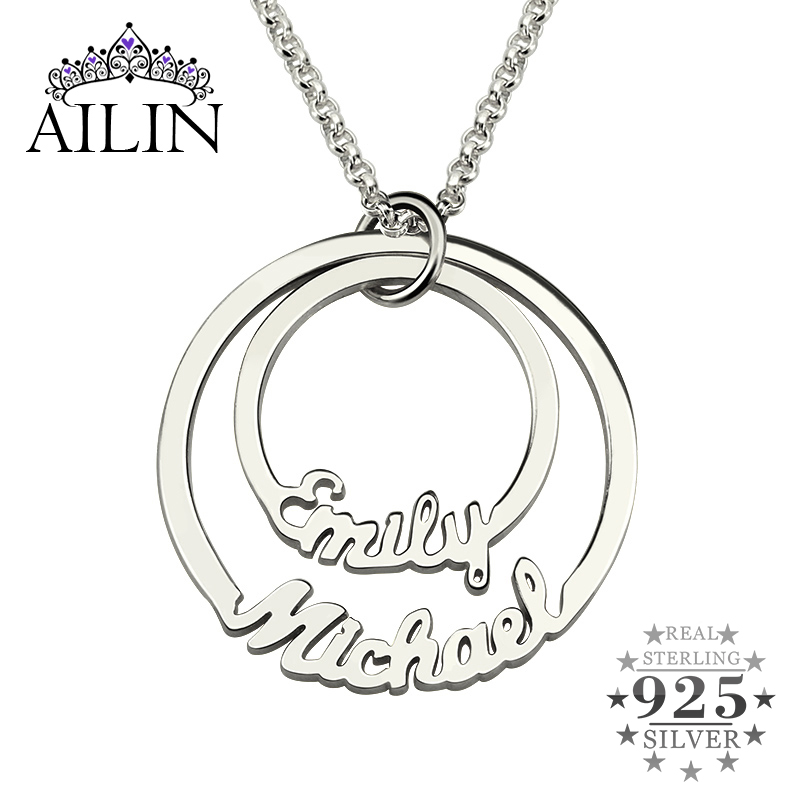 Shiry Custom Name Pendant Necklace Personalized Birthstone Necklace Round Disc Pendant Customized Family Necklace Birthday Christmas Jewelry Gift for Mom