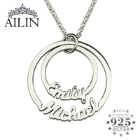 Two Disc Name Necklace in Silver Personalized Mom Necklace Disc Pendant Necklaces Customized Family Necklace 2 Stacked Discs
