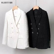2019 Tweed Office Blazer Women Double Breasted Long Sleeve White Black Women's Jacket Coat Spring autumn Female Jacket Blazer white faux fur trim tweed blazer
