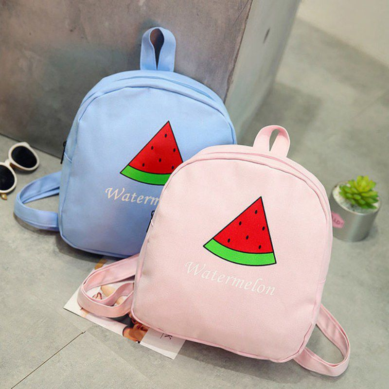 Women Soft Sisters Mini Backpacks Cute Watermelon Canvas Bag Middle School Student Girl Small Backpack