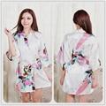 Manga curta Floral Sexy Plus Size Robe De Seda Das Mulheres Senhora Menina Pijamas de Seda Roupão Nightgowns Loungewear Sleepwear