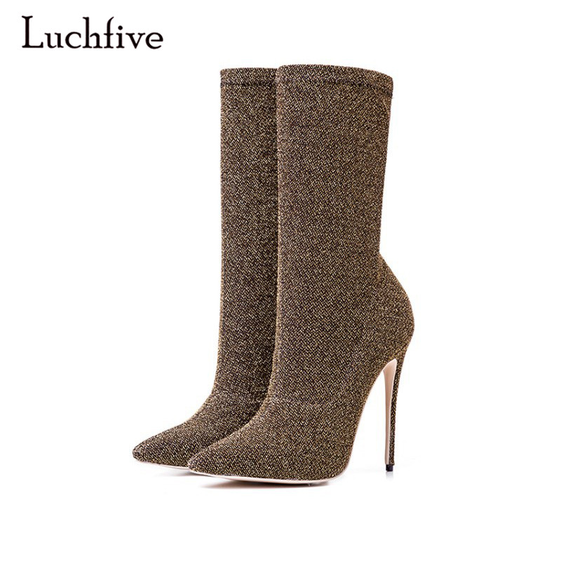 Sequined Knitting Sock ankle Boots Women Pointed Toe Bling Bling Sexy Party Stiletto High Heels Elastic Sock Shoes Boots woman fashion kardashian ankle elastic sock boots chunky high heels stretch women autumn sexy booties pointed toe women pumps botas