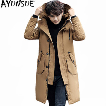 AYUNSUE 2020 High Quality Mens White Duck Down Jacket Warm Winter Coat Hooded Men's Jackets Long Parka Jaqueta Masculino WXF308