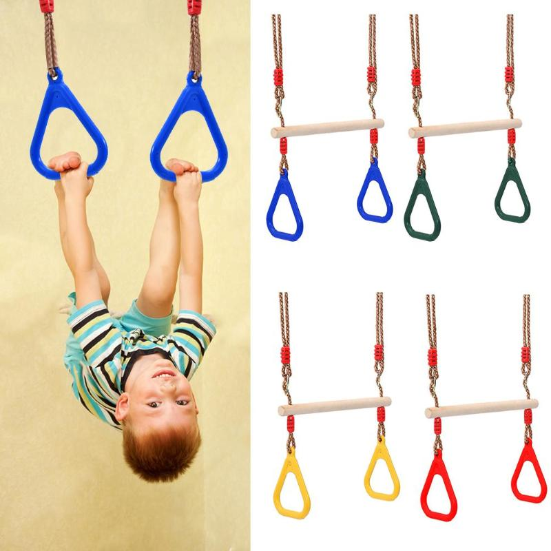 Kids Hand Rings Wooden Swing Toy Outdoor Gift Sports Fitness Children Supplies Kids Outdoor Swing Game Activity Family Game