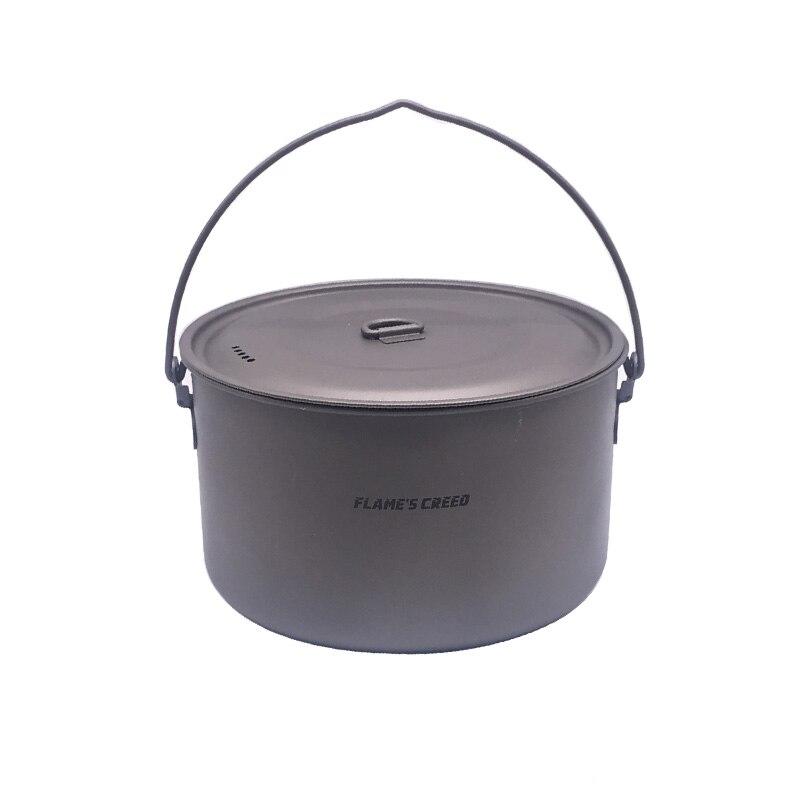 Pot de Camping extérieur en titane FLAME'S CREED Pots de cuisson pique-nique Pot suspendu en titane ultra-léger 1950 ml
