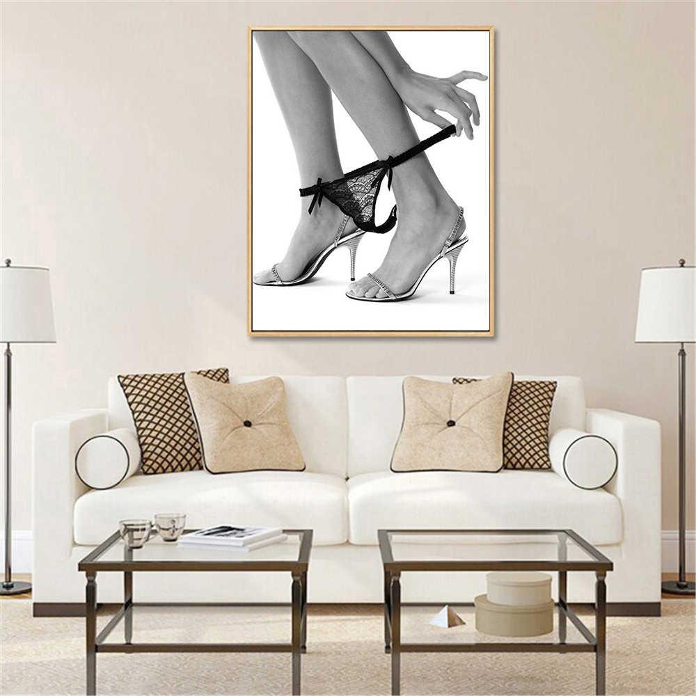 Kaki seksi Poster Hitam Putih Dinding Seni Gambar Kamar Mandi Dekorasi Kamar Tidur Kanvas Cetak Modern Dekorasi Mengambil off Panks Nordic