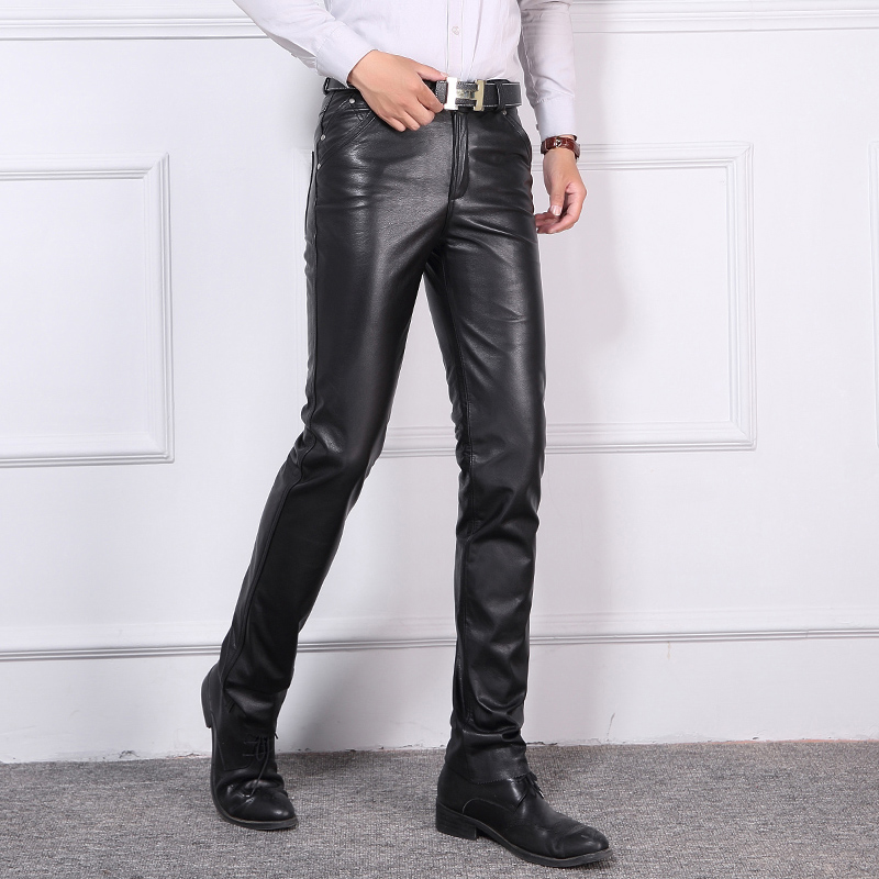 FL&AEVVE Leather Pants Men Tight Trousers Motorcycle male