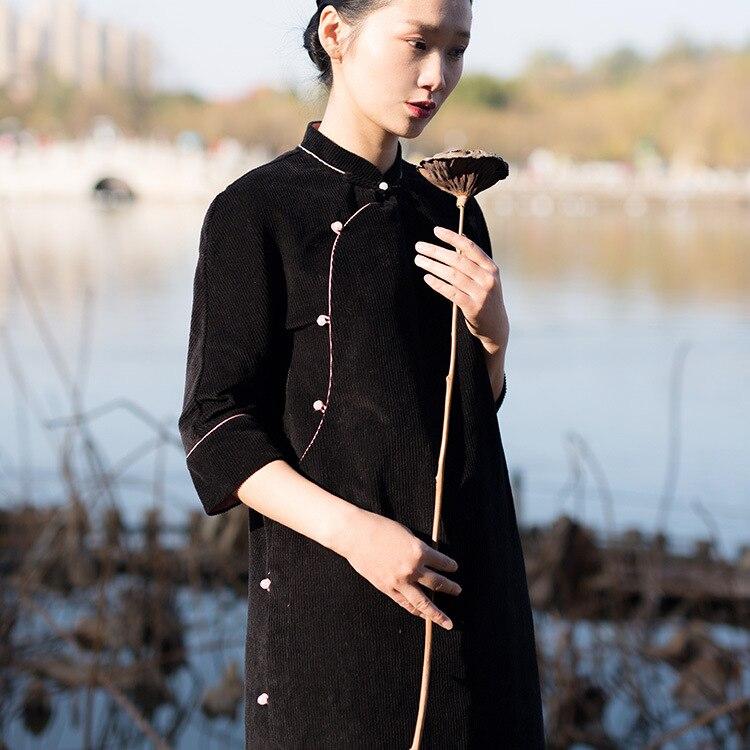 Manteau Femmes Veste Conception Noir Hiver Outwear Court Velours Robe Rétro Automne Originale Chinois Style vRa85wn