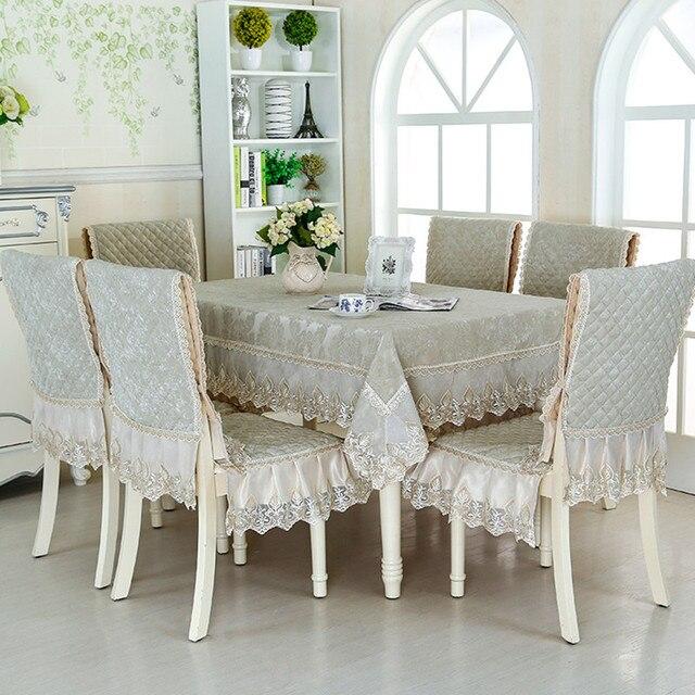 € 75.52 40% de DESCUENTO|13 unids/set * 130*180 cm Rectangular mantel  comedor silla mesa cubre borde de encaje manteles de Mesa Grande tela en ...