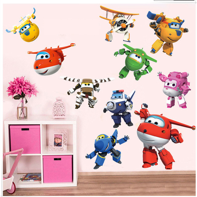 3D Cartoon Super Wings wall stickers for kids rooms home decor DIY art games