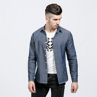 Designer Denim Jean Shirts Men 2017 Spring Autumn Features Shirts Men Casual Men Fitted Dress Shirt