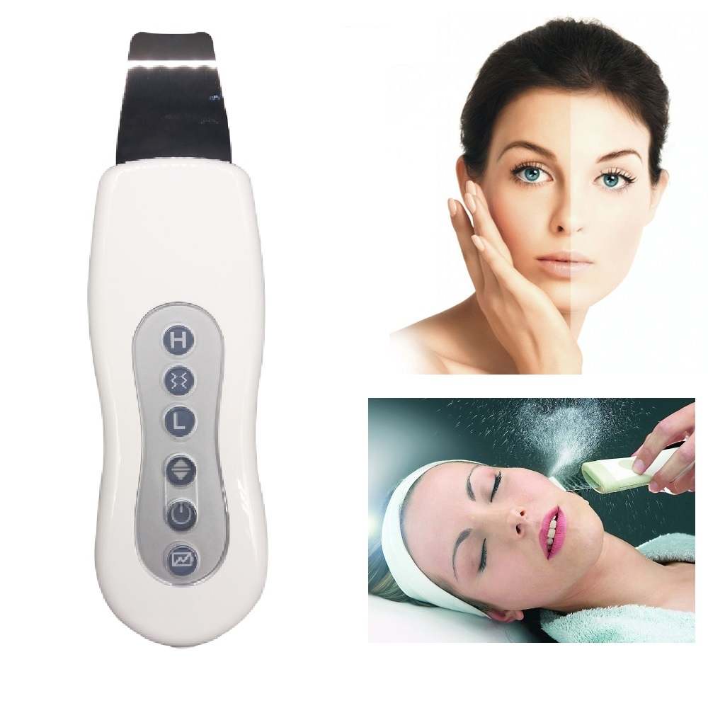 Rechargeable Ultrasonic face skin cleaner blackhead acne removal shrubber peeling machine face exfoliator deeply clean skin