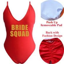 71669e1d2c76c Bride Squad One Piece Swimsuit Swimwear Women Sexy Push Up Female Solid Bodysuit  Swimming Bathing Suit Beachwear Monokini 2018