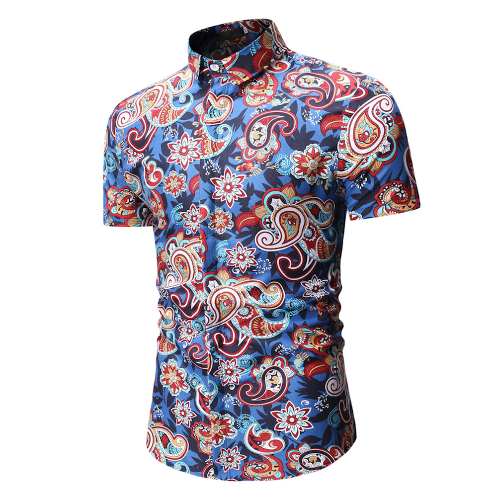 Summer Beach Hawaiian Short Sleeve Shirt Men Floral Printed Casual Dress Shirts Male Comfortable Tops Clothes 2019 Fashion 3XL