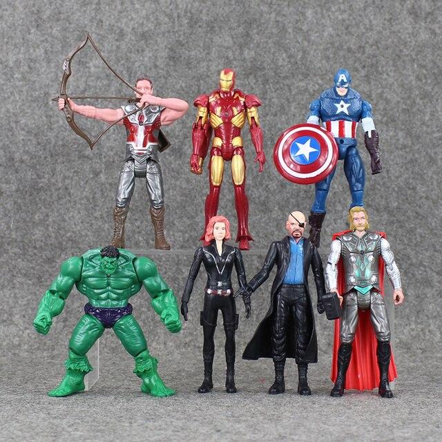 7 unids/lote luz LED vengadores figura de acción Thor Hulk Iron Man Capitán América Viuda Negra Hawkaye modelo Juguetes