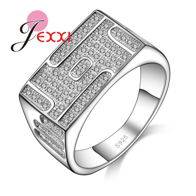 655842daa9 JEXXI New Style Fashion 925 Sterling Silver Couple Ring Women Men Cubic  Zirconia White Stone Rings African AAA Crystal Bijoux