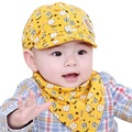 Fashion Summer Baby Hat Cotton Bib Scarf Kids Boy Sun Caps Girl Hat 0-2Y Toddler Saliva Towel Bandana Bibs Child Triangle Scarf