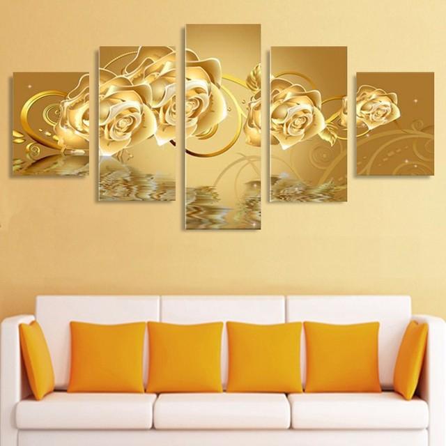 5 Panels(No Frame) Golden Rose Flower Painting Modern Home Wall ...