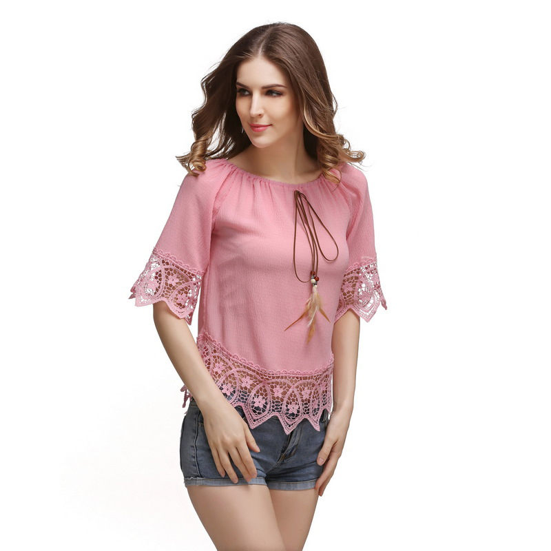 Fashion New Womens Casual Sexy Lace Off Shoulder Half Sleeve T-shirt Tops