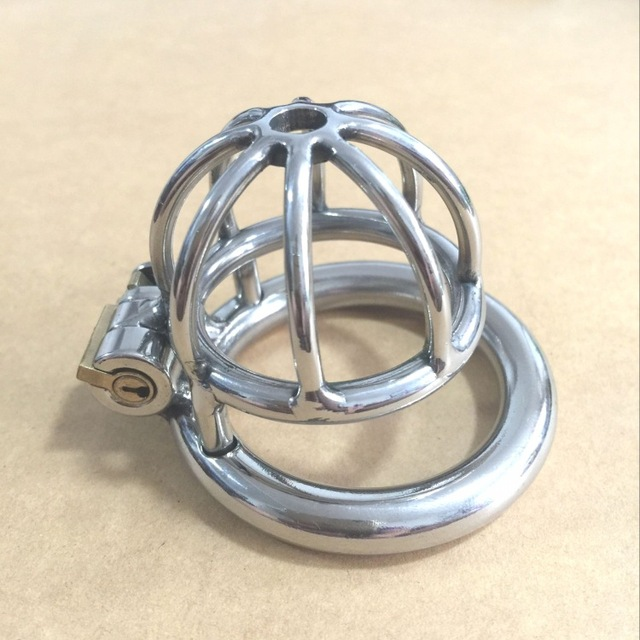 2016 new Male chastity belt stainless steel metal cages bound chastity device The new bar cage adjustable clasp chastity lock