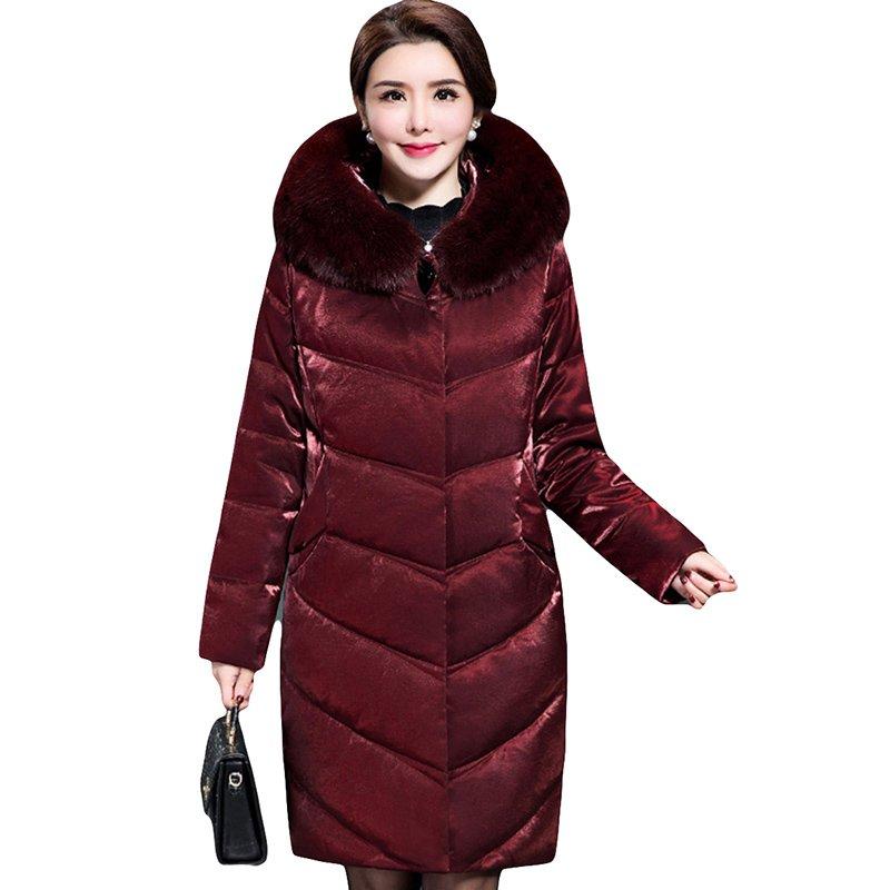 Plus Size 5XL 2018 Winter Jacket Women   Down   Jackets Solid Fur Collar Hooded Thicken White Duck   Down     Coat   Long   Down     Coats   LJ0633