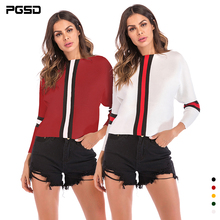 PGSD New Autumn winter fashion simple Women clothes Bats sleeves Long sleeves Stripe coloring boat neck Knitted Sweater female sweater women 2020 spring new fashion printed sequined round neck drop shoulder long sleeves short knitted sweater female m l