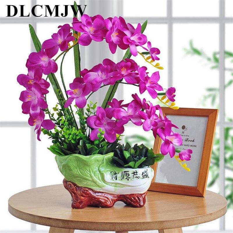 Papillon artificiel orchidée plantes en pot fleur décorative en soie avec des pots de chou en résine pour la maison balcon décoration vase ensemble
