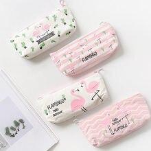 ced0a51df Kawaii Cute Pink Flamingo Canvas Pencil Case almacenamiento organizador Pen bolsas  bolsa lápiz bolsa escuela suministro