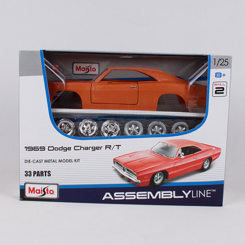 Maisto 1:24 1969 Dodge Charger Rt Metal Car Diecast Model 33 Parts Orange Vintage Vehicle Diecast Assemble Car Model 39256