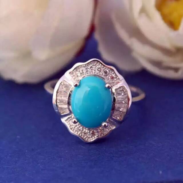 Natural green turquoise Ring Natural gemstone Ring 925 sterling silver trendy luxurious Thick round women's party fine Jewelry trendy fuax turquoise carved rounded rechtangle ring