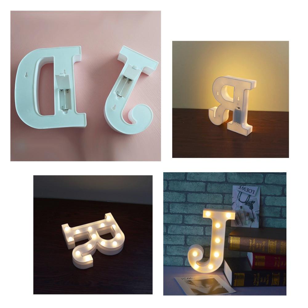 Alphabet Letter A-J LED Light White Light Up Decoration Symbol Indoor Wall Decoration Wedding Party Window Display Light