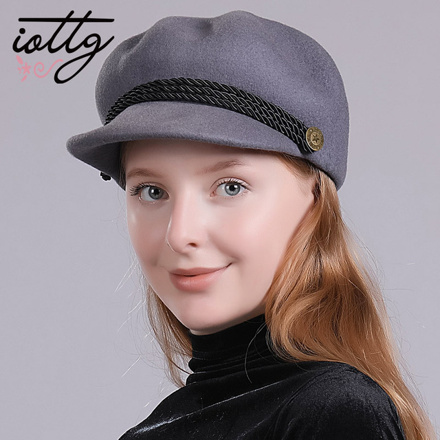 IOTTG Fashion Solid Visor Military Beret Hat Autumn and Winter Vintage wool  Patchwork Cap For Women England Style Cap c02e068a309
