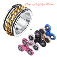 Buy Ring Get The Fidget Spinner EEIEER Hand Spinner Free Fashion Rings For Man Body Jewelry