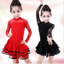 2017 Autumn New Children Dance perform clothes girls latin dance skirts physical fitness training wear long-sleeved costume suit