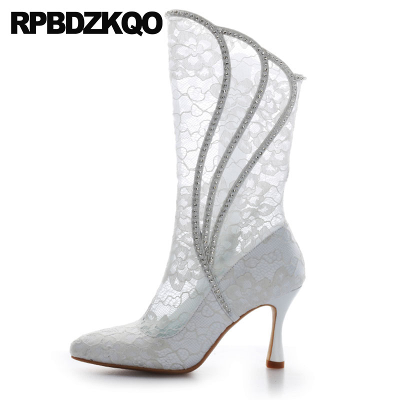 Detail Feedback Questions about Lace Summer Mesh Women Autumn Pointed Toe High  Heel Shoes Mid Calf Rhinestone Custom Stiletto Sandals White Wedding Boots  ... 1444f4f9623f