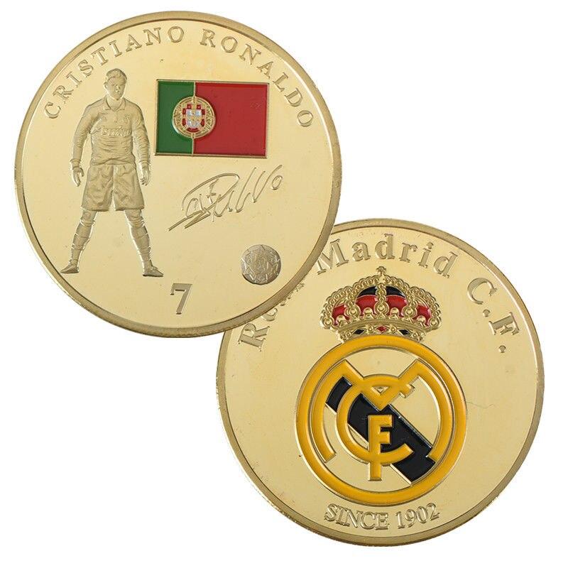 Espressive Madrid Spagna Stella Del Calcio Cristiano Ronaldo Gold Plated Sfida Moneta Regali Aziendali Calciatore Oro Monete Da Collezione