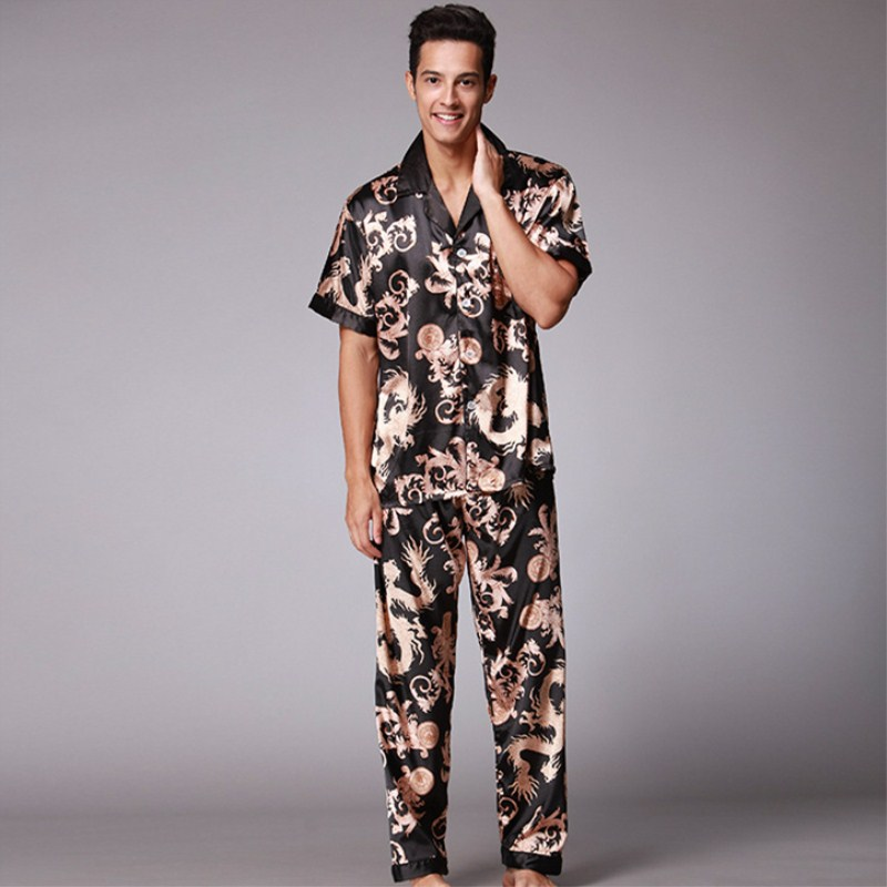 e7291ac53b Mens Pajama Set Brand Pajamas Summer Men `s Faux Silk pyjamas men Long Pant  Male Home Clothing Luxury Sexy Sleepwear Clothing