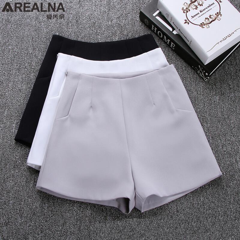 2019 Summer Fashion high waist   shorts   women Black Gray White Casual Suit   Shorts   Ladies Wide Leg   Short   Hotpants   Short   Feminino