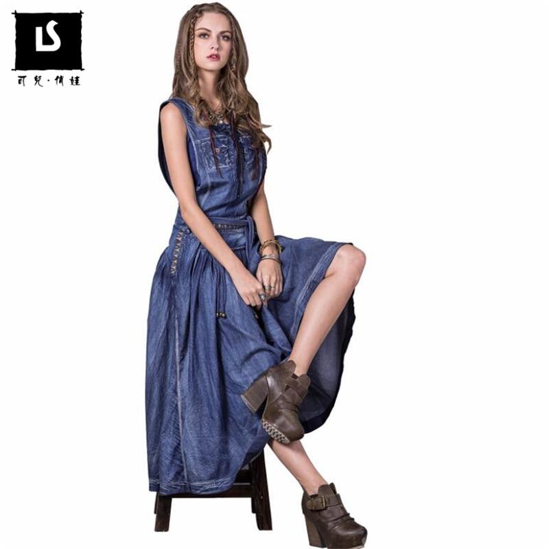 Top Fashion 2019 Spring Summer Women Vintage embroidered tassel Dresses High Quality Lady Long Denim Dress
