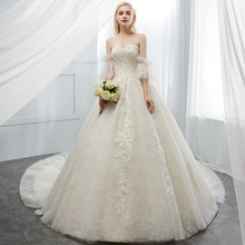 HIRE LNYER Beading Ball Gown Wedding Dresses With Sleeve