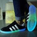2017 nueva pareja Coreana luminoso emisor de zapatos casuales hombres de moda de alta calidad zapatos glow in the dark Fluorescente venta caliente