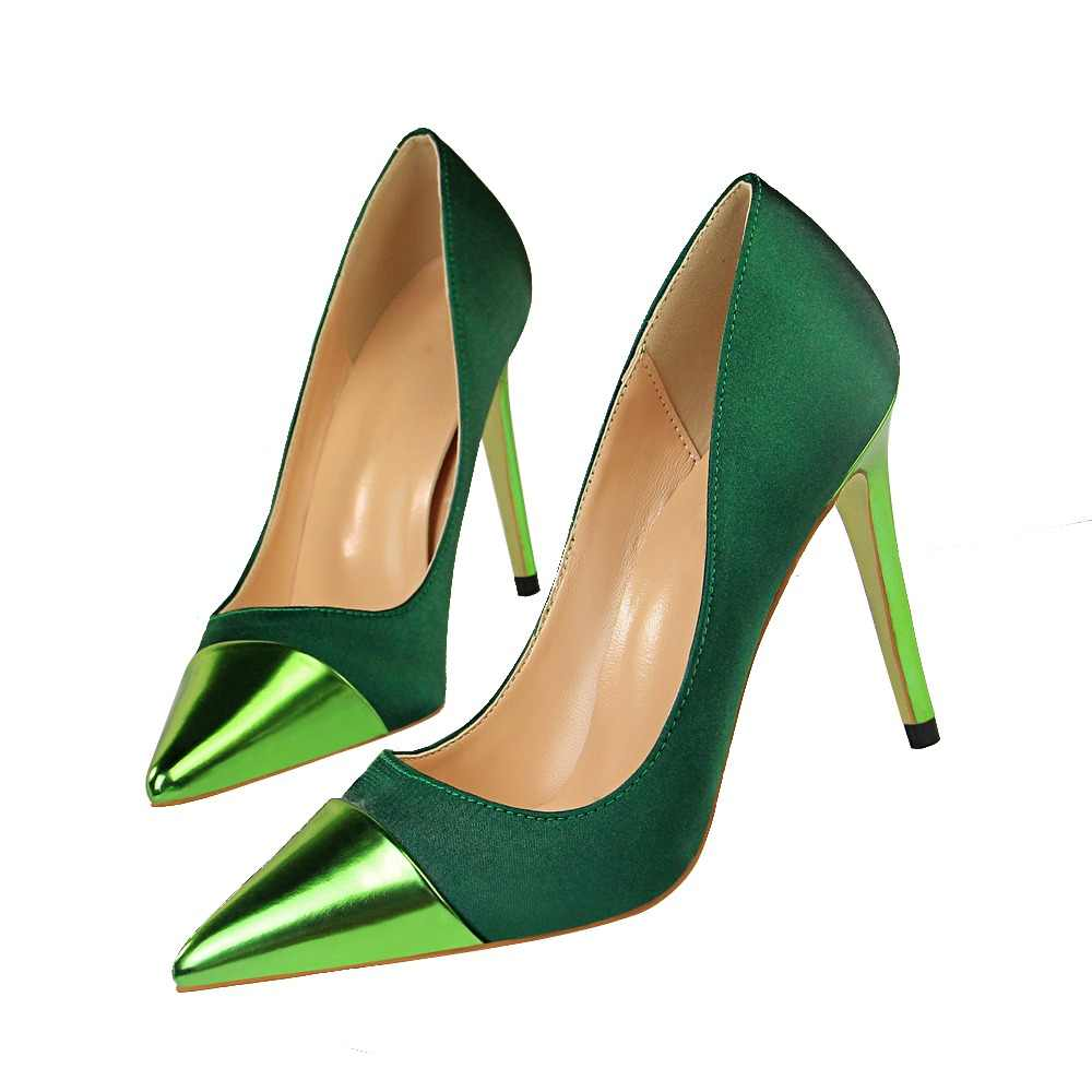 2019 Fashion 10cm High Heels Women Valentine Blue Green Pumps Female Satin  Stiletto Heels Tacones Fetish 457bbc2c5a76