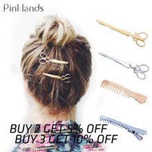 Gold Silver Metal Hair Clip Creative Scissors Leaves Comb Shapes Hairpin Clamps Hair Decorations Accessories Hair Barrettes цена в Москве и Питере