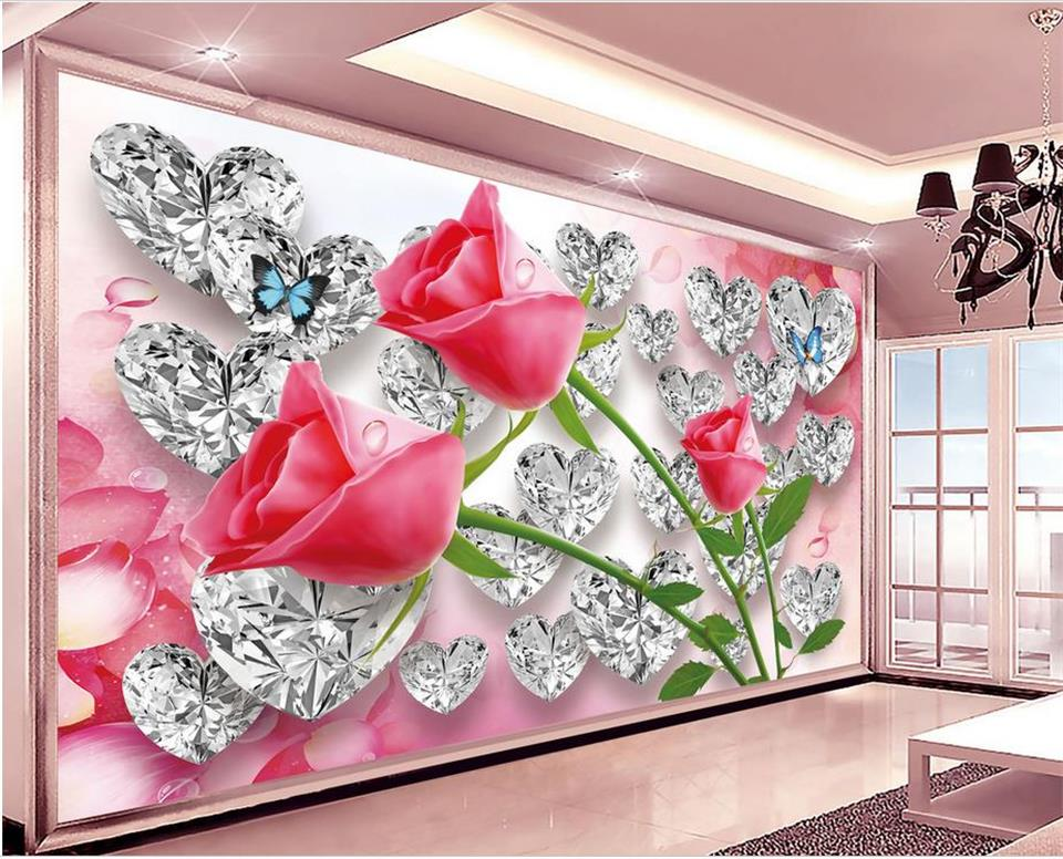 3d wallpaper photo wallpaper custom mural living room diamond rose flowers 3d painting sofa TV background wall non-woven sticker 3d wallpaper custom mural non woven wall sticker 3d flowers and blue sky and white cloud ceiling murals wallpaper for walls 3d