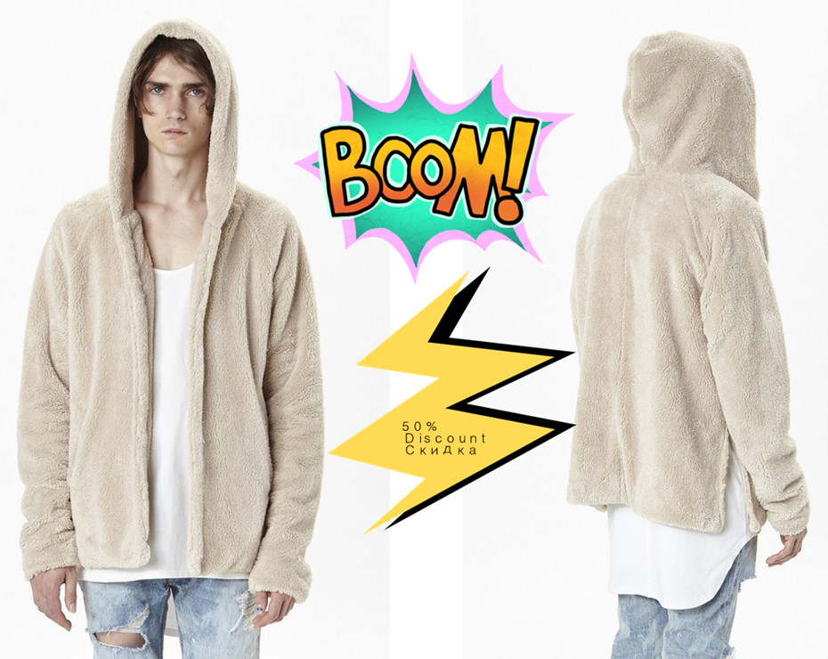 SNOWSONG Long Hoodie Men Asymmetrical Hipster Zip up Jacket Back Slit Cardigan Sweatshirt